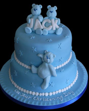 Christening cake 2 tier teddy