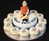 Edible photo football cake