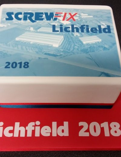 A cake to help celebrate a new distribution centre opening in Lichfield