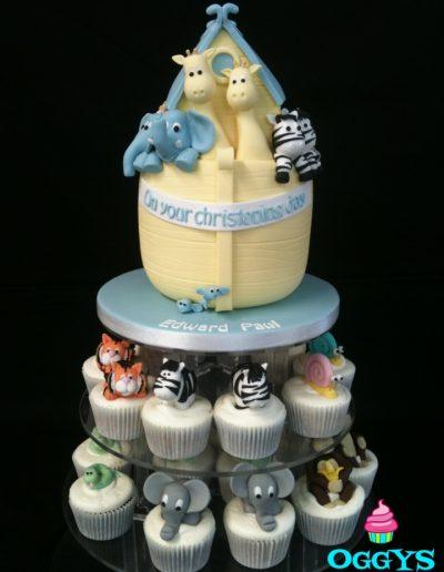 Noahs Ark Christening Cake & Cupcakes