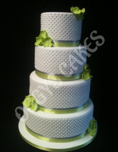 Lime Green Polka Dot Wedding Cake