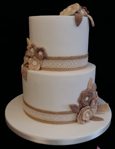 Crochet Flowers Wedding Cake