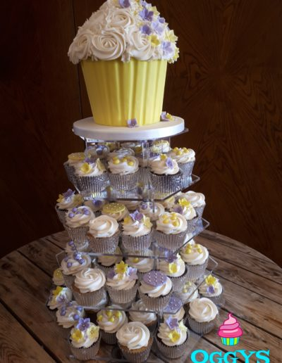 Giant Cupcake Tiered Flowers Wedding Cake