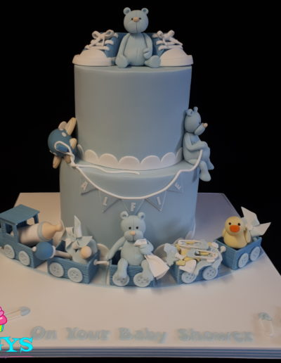 Teddy Train Baby Shower Cake
