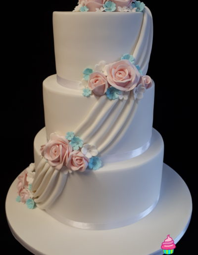 Swags & Roses Wedding Cake