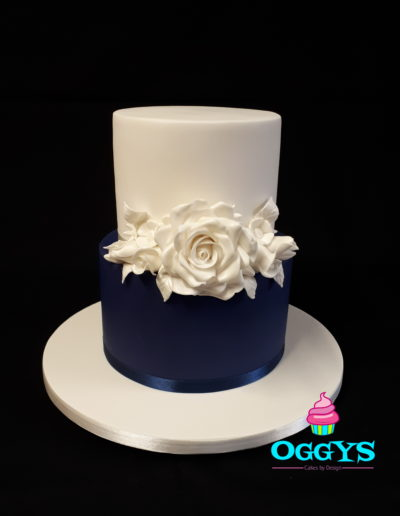 Navy & Roses Wedding Cake
